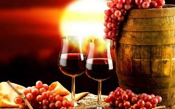 фон, виноград, красный, вино, бокалы, бочонок