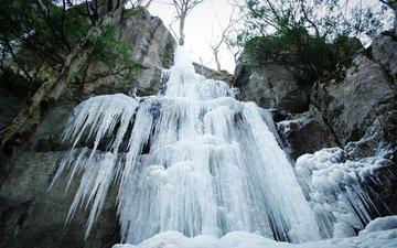 скалы, зима, водопад, лёд, на природе, замерзла