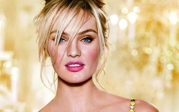 девушка, фон, блондинка, взгляд, размытость, модель, лицо, золото, кэндис свейнпол, голубоглазая, ангел victoria's secret