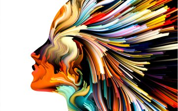 art, line, color, figure, woman, lines, colors, head
