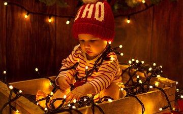 новый год, ребенок, шапка, рождество, гирлянда, детские, пацан, елочная, герлянда, infants, дитя