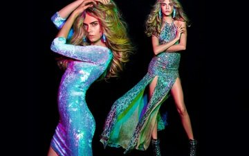 девушка, платье, блондинка, модель, ножки, волосы, актриса, мода, кара делевинь, blumarine, ка́ра делеви́нь