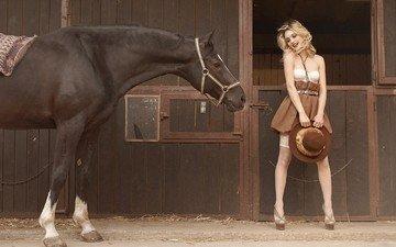 лошадь, девушка, блондинка, чулки, конь, шляпа
