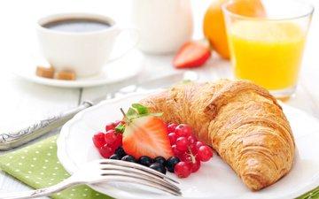 клубника, кофе, завтрак, выпечка, круасан, круассан