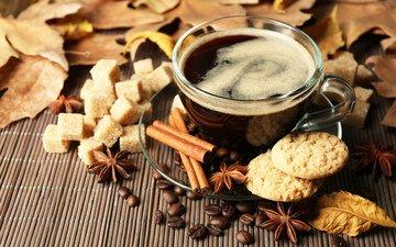корица, зерна, кофе, сахар, печенье, baking, галеты