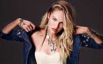 украшения, девушка, блондинка, модель, волосы, лицо, куртка, кэндис свейнпол, джинсовая