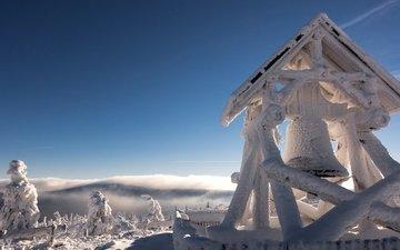 облака, снег, зима, германия, саксония, колокол, fichtelberg mountain, ore mountains, гора фихтельберг, рудные горы, колокола, звон