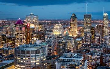 небо, ночь, огни, города, город, небоскребы, дома, здания, постройки, синее, канада, освещение, монреаль, квебек, quebec
