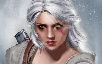 арт, девушка, взгляд, witcher 3:wild hunt, цыри