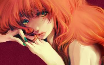 art, look, orange, megurine luka, green eyes, red hair