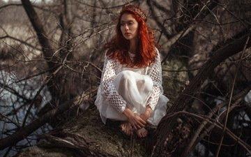 природа, девушка, поза, ветки, рыжеволосая