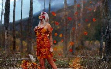 арт, облака, природа, листья, девушка, поза, осень, на природе, осен, conceptual