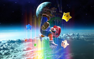 space, stars, galaxy, mario, super mario