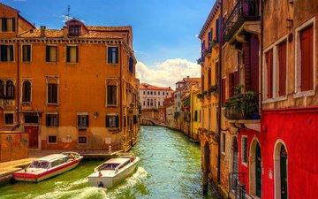 небо, мостик, венеция, канал, дома, италия, катер, venezia