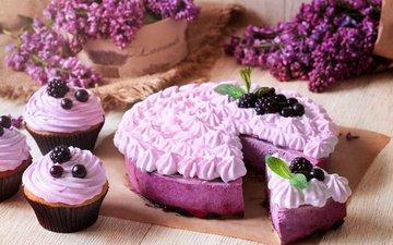 цветы, крем для торта, ягоды, сладкое, сирень, торт, десерт, пирог, ежевика, смородина, сиреневая, кулич, смородины, baking, сладенько, кулебяка