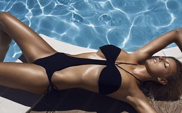 girl, model, pool, photographer, swimsuit, maxime soldado