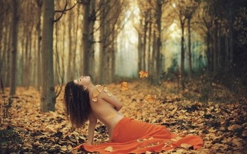 forest, girl, pose, autumn