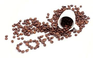 зерна, кофе, белый фон, чашка, кубок, бобы