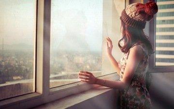 девушка, города, город, шапка, окно, gевочка