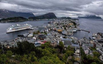 панорама, дома, здания, норвегия, лайнер, круиз, фьорды, норвегии, гейрангер-фьорд, aalesund, hjørundfjorden, geirangerfjord, олесунн, хьюронд-фьорд