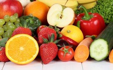 виноград, клубника, апельсин, яблоко, овощи, морковь, помидор, бананы, морковка, перец, fruits, эппл, виноградные