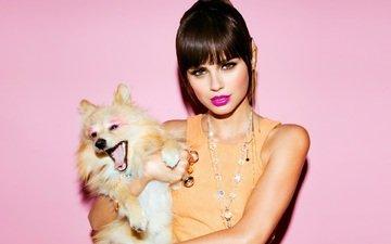 фон, взгляд, собака, модель, губы, макияж, xenia deli