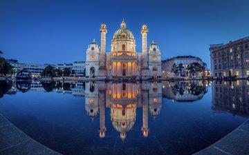отражение, австрия, водоем, ночной город, церковь, вена, karlskirche, карлскирхе, карлсплац, велико тырново