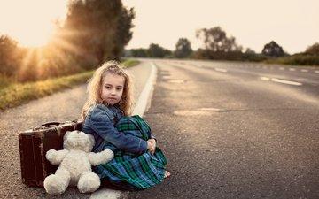 дорога, медведь, мишка, девочка, игрушка, тедди, игрушечная, чемодан, медвед, миленькая