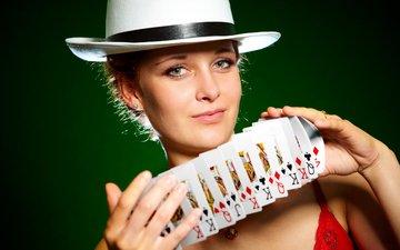 девушка, карты, взгляд, шляпа, shuffling cards