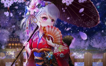 цветение, аниме, зонт, сакура, кимоно, веер, юката