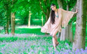 цветы, деревья, природа, лес, девушка, поза, модель