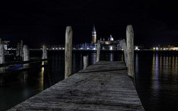 ночь, венеция, италия, ноч, сан - джорджо maggiori