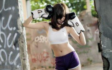 девушка, спорт, азиатка