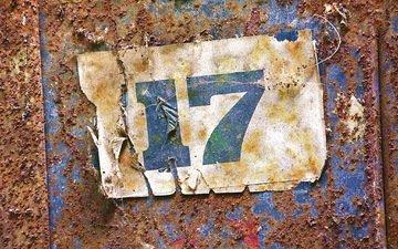 металл, фон, цифры, ржавчина, номер, 17