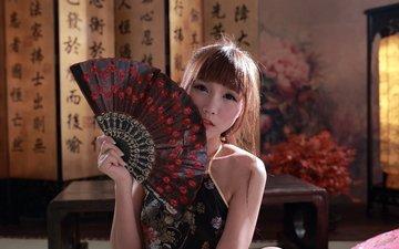 стиль, девушка, настроение, взгляд, волосы, азиатка, веер, азиат, ориентал