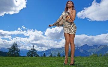 облака, горы, природа, стиль, пейзаж, платье, поза, луг, модель, фигура, andreea