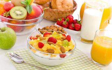 виноград, клубника, яблоко, киви, завтрак, молоко, персик, хлопья, сок, гайки, эппл, йогурт, молока, виноградные