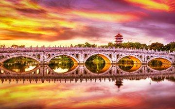 закат, отражение, мост, водоем, сингапур, китайский сад
