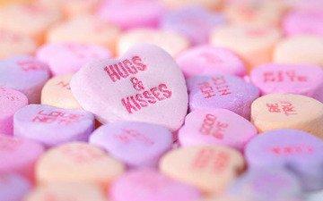 макро, конфеты, сердце, hugs_kisses