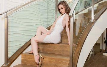 лестница, девушка, платье, модель, ножки, волосы, шатенка, плейбой, gевочка, playboyplus, emily bloom, модел