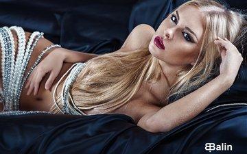 blonde, look, photographer, lips, body, beauty, silk, pearl, face, eugene balin