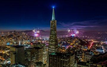 небо, ночь, огни, салют, город, небоскребы, дома, сша, здания, сан-франциско, праздник, синее, фейерверк, калифорния, освещение, сан - франциско, калифорнийская