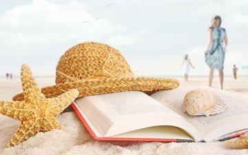 берег, стиль, море, пляж, девушки, ракушки, отдых, книга, шляпа, морская звезда, пляжный натюрморт