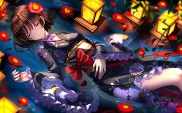 flowers, art, lights, water, girl, anime, kimono, bow, swordsouls, koutetsujou no kabaneri, mumei