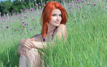 flowers, grass, girl, red, beads, violla a