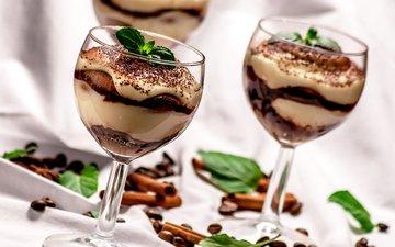 мята, мороженое, корица, зерна, кофе, коктейль, бокалы, сладкое, десерт, морожное