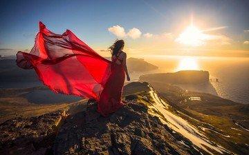 берег, закат, девушка, настроение, платье, океан, красное