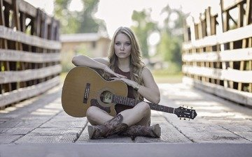 girl, mood, blonde, guitar, bridge, music, model, boots