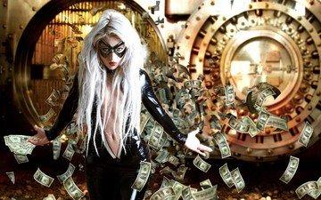 девушка, маска, деньги, банк, ограбление