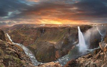река, горы, восход, водопад